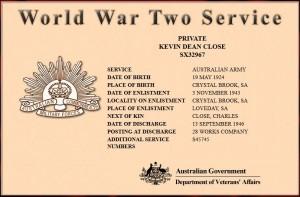 Kevin Dean Cose (1924) Serviceertificate